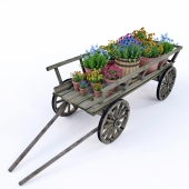 Decorative cart with flowers .02
