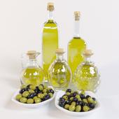 Декоративный набор оливки, масло в бутылках
