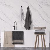 Bathroom towel set+bathtub