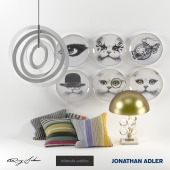 Table lamp with decorative plates, cushions and mobile