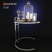 Side table with decorative set