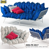 Диван и кресло IKEA PS 2017 Loveseat with 36 pillows, white, dark blue