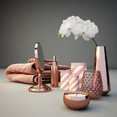 Copper Bathroom Decor Set