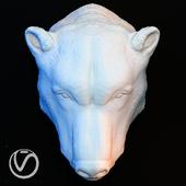 Гипсовая голова белого медведя