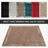 Ascot Taupe Bordered Wool Rug By Asiatic