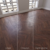 Parquet natural oak harsh, 3 species. Linear, chevron, herringbone.
