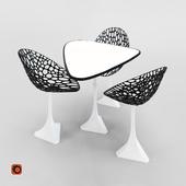 Стол и стул Черное с белым