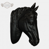 Large Black Horse Head Wall Sculpture