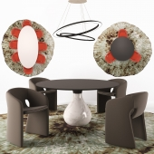 Celeste Armchair, Aqua Dining table, O-O Suspension