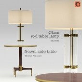 Set of Glass Rod Table Lamp (JRL-8990) & Newel Side Table by Thomas Pheasant (No. 8660)