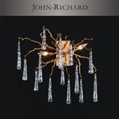 John-Richard Brass and Glass Teardrop Two-Light Wall Sconce