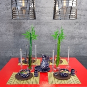 Asian dinner set with Ralph Lauren Bennington suite and Chatham pendant