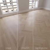 Parquet natural, oak Sapphire, 3 species. Linear, chevron, herringbone.