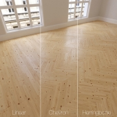 Parquet natural, larch with knots, 3 species. Linear, chevron, herringbone.