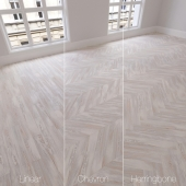 Parquet natural, birch Tundra, 3 species. Linear, chevron, herringbone.