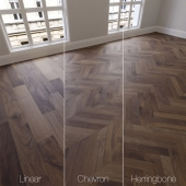 Parquet natural, American Walnut, 3 species. Linear, chevron, herringbone.