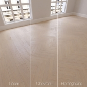 Parquet natural, oak Meridian 3 types. Linear, chevron, herringbone.