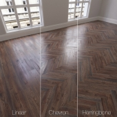 Parquet natural, Oak Canyon, 3 species. Linear, chevron, herringbone.