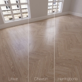 Parquet natural, Oak Mountain Canyon, 3 species. Linear, chevron, herringbone.