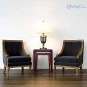 armchairs + table + lamp