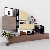 Storage system with books tv vase plant