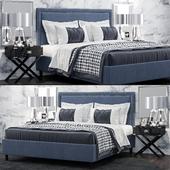 Кровать TOV Furniture Reed Navy Velvet Tufted