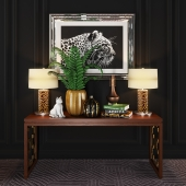 Baker Carta console + decorative set