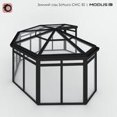 Зимний сад (№ 12) CMC 50 MODUS. Сегментный, с семискатной крышей, для внешнего угла