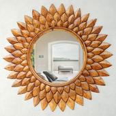 Round Carved Lotus Mirror