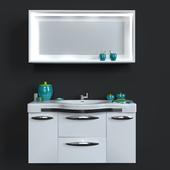Washbasin with mirror + decorative set