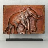 Antique Indian Elephant Relief Panel