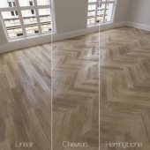 Parquet natural, oak Vintage, 3 types. Linear, chevron, herringbone.