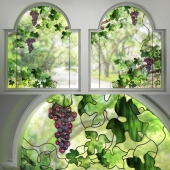 Two window stained glass windows Grapes