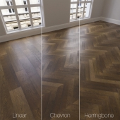 Parquet natural, oak smoked, 3 kinds. Linear, chevron, herringbone.
