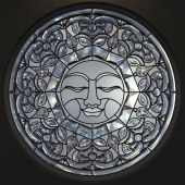 Stained glass round The SUN