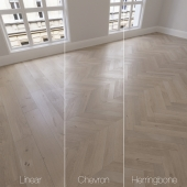 Parquet natural, oak anchorage, 3 types. Linear, chevron, herringbone.