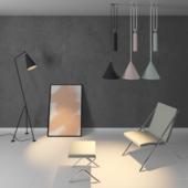 Table, Chair, Ceiling light, Floor lamp, Frame