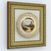 Декоративная тарелка в деревянной раме