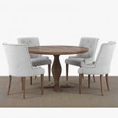 Food group: Lamier dining table around + 4 pcs Tuva beige chairs 3D model