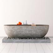 Stone bathroom on pebbles