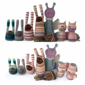 Set of textile toys from socks