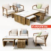 Flexform - crono divano, armchairs + tindari coffee table + carpet
