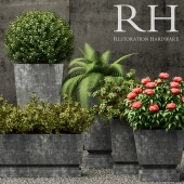 Restoration Hardware pedestal sheet metal planters
