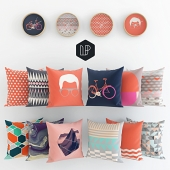 Fun pillows and clock by Leandro Pita