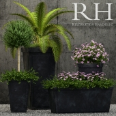 Restoration Hardware paneled sheet metal planters