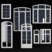 A set of arched windows / doors