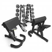 TECHNOGYM. PURE STRENGTH - BARBELL RACK; SCOTTBENCH