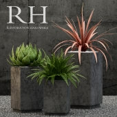 Restoration Hardware cube sheet metal planters