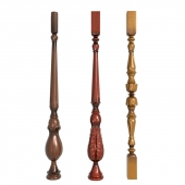 A set of carved balusters