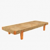Mexican Wood and Cane Bench or Daybed 3D model